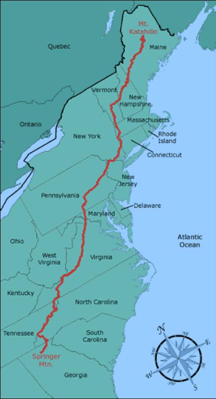 Appalachian Trail In Maine Map.The Appalachian Trail Interexchange