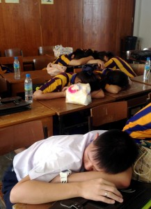 post-lunch classroom of high school seniors in Thailand