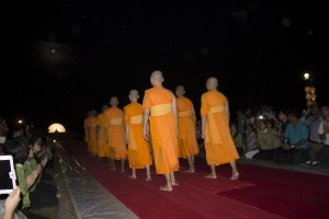 monks passing by at Loi Krathong