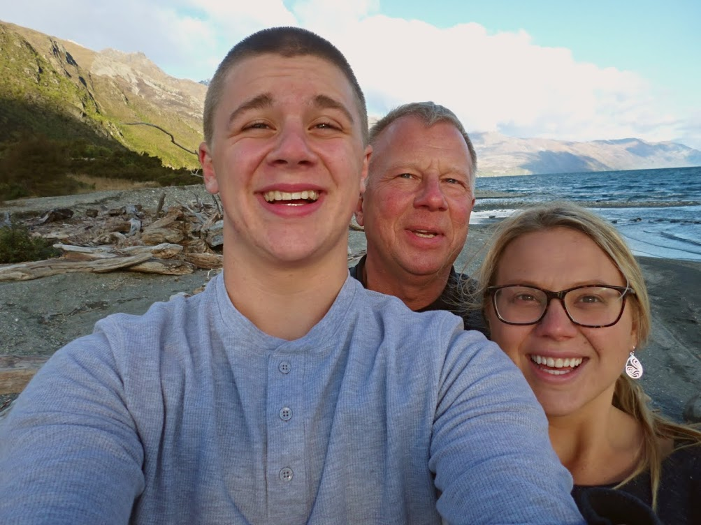 selfie of Rachel's family in New Zealand