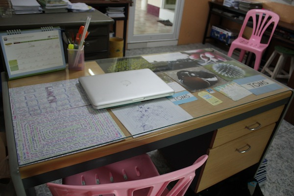 teacher's desk in Thailand