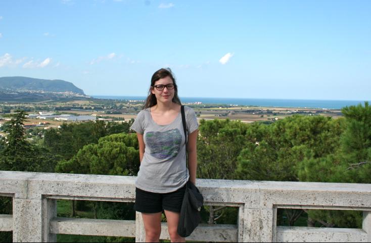 Dagmar in front of landscape in Loreto, Italy